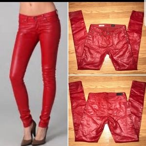 AG Adriano goldschmeid red coated jeans